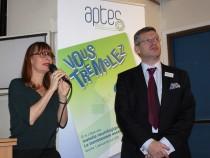 Le professeur Emmanuelle Apartis-Bourdieu, présidente du conseil scientifique de Aptes et Fabrice Barcq, président de Aptes